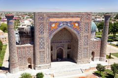 Sher Dor Medressa - Registan - Samarkand - Uzbekistan Stock Photos