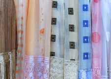 Sher drapes. Sheer materials patterns for retro home decor drapes Royalty Free Stock Image