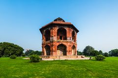 Sher Mandal på Purana Qila Royaltyfri Foto