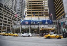 Sheraton New York welcomes visitors during Super Bowl XLVIII week in Manhattan. NEW YORK - JANUARY 26 Sheraton New York welcomes visitors during Super Bowl royalty free stock image