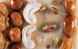 Sherbet surface with nuts Royalty Free Stock Image