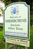 Sherborne Sign. A sign welcoming people to Sherborne, Dorset, England Stock Image