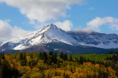 Sherburne Peak in the Autumn Color Stock Photos