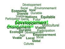 Développement durable - nuage de mots (français). Sphère de termes de développement durable (en Français), tel quils sont définis dans Stock Images