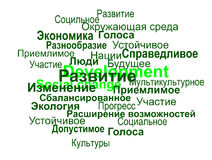 Sustainable development terms sphere (russian) Stock Photography