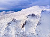 Sheregesh, Kemerovo, Russia, Aerial view drone mountains and forest, stock photo