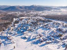 Sheregesh panorama, Kemerovo, Russia, Aerial view drone mountains and forest stock photo