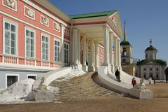 Sheremetev家庭的Kuskovo庄园在莫斯科,俄罗斯 免版税库存照片