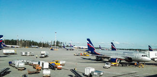 Sheremetyevo-Flughafen, Russland - August 2017: Sheremetyevo-Flughafen, russische Fluglinien Aeroflot Lizenzfreies Stockbild