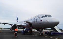 Sheremetyevo-Flughafen, Russland - August 2017: Sheremetyevo-Flughafen, russische Fluglinien Aeroflot Stockfotos