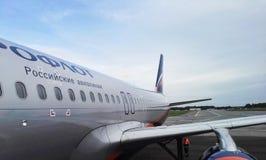 Sheremetyevo-Flughafen, Russland - August 2017: Sheremetyevo-Flughafen, russische Fluglinien Aeroflot Lizenzfreie Stockfotografie