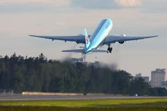 Korean Air Boeing 777-200 HL7715 at Sheremetyevo international airport. stock photography