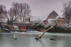 Sherfield em Loddon após a queda de neve Imagens de Stock Royalty Free