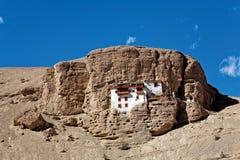 Shergulklooster dichtbij Mulbek, Kargil, Ladakh, Jammu en Kashmir, India Royalty-vrije Stock Afbeelding