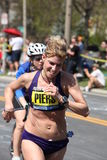 Sheri Piers races up Heartbreak Hill Royalty Free Stock Image