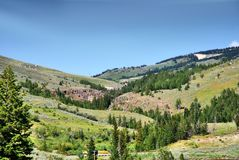 Sheridan, Bighorn mountains. historical place in Wyoming. Sheridan, Bighorn Mountains, venue for numerous fights between Sioux, Cheyenne and Crow Indians with stock photo