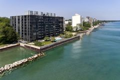 Sheridan Road Shoreline Aerial. Aerial view of the 1420 Sheridan Road condominium building and others along the shoreline in Wilmette, Illinois taken with a Stock Image