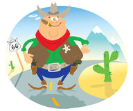 Sheriff. Cartoon sheriff standing on the road Stock Illustration