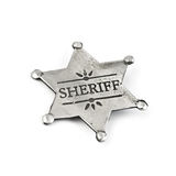 Sheriff. Star isolated on white stock images