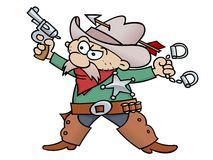 Sheriff. Cartoon sheriff with handcuffs, revolver, and tin star, wearing chap and cowboy hat penetrated with an arrow Royalty Free Stock Image