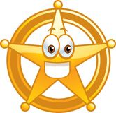 Sheriff Badge. A smiling golden Sheriff's badge Royalty Free Stock Photo