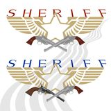 Sheriff badge and gun-2 Royalty Free Stock Photography