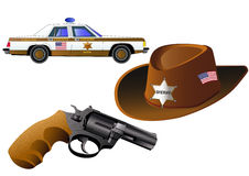 Sheriff badge, gun, car and hat, , vector. Sheriff badge, gun, car and hat,  on white, vector illustration. Icon. Flat style Royalty Free Stock Photography