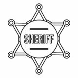Sheriff badge icon, outline style Royalty Free Stock Images
