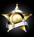 Sheriff Badge Illustration. Golden sheriff badge design with a silver ribbon for text Stock Photo
