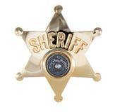 Sheriff badge isolated on white. Gold Sheriff badge isolated on white Royalty Free Stock Images