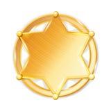 Sheriff Badge Star Vector Guld- sexhörnig stjärnasymbol för polisen Arkivfoto