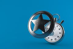 Sheriff badge with stopwatch. Isolated on blue background. 3d illustration stock illustration