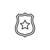 Sheriff Badge With Star Line Icon, Outline Vector Sign, Linear Pictogram Isolated On White.