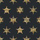 Sheriff Badges Seamless Pattern Fotografía de archivo libre de regalías