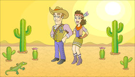 Sheriff and beauty. Lady. Vector illustration Stock Photos