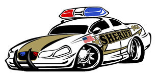Sheriff Car Cartoon Illustration Lizenzfreies Stockfoto