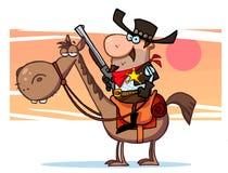 Sheriff con el arma en el caballo, fondo Imagen de archivo libre de regalías