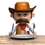 Sheriff des Cowboys 3d hat eine leere Platte vektor abbildung