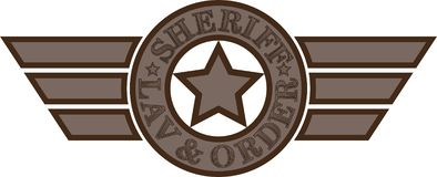 Sheriff Emblem Ster met tekst en vleugels stock fotografie