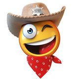 Sheriff emoji isolated on white background, cowboy emoticon 3d rendering Stock Images