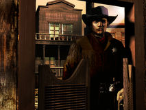 Sheriff entering in the saloon. Entrance of an old western saloon. The sheriff is coming in royalty free illustration