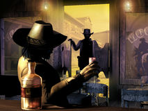 Sheriff entering the saloon Royalty Free Stock Photos