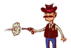 Sheriff fires his gun. Cartoon sheriff  with cowboy hat fires his gun linocut style Stock Image