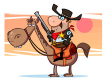 Sheriff with gun on horse, background Royalty Free Stock Image