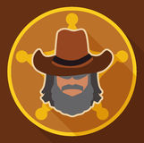 Sheriff with Hat on his Badge in Flat Style, Vector Illustration Royalty Free Stock Image