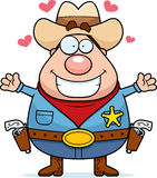 Sheriff Hug. A happy cartoon sheriff ready to give a hug Royalty Free Stock Image
