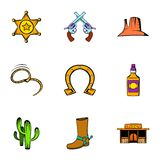 Sheriff icons set, cartoon style. Sheriff icons set. Cartoon illustration of 9 sheriff vector icons for web Royalty Free Stock Photo