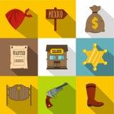 Sheriff icons set, flat style Royalty Free Stock Photo