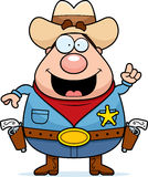 Sheriff Idea. A happy cartoon sheriff with an idea Stock Images