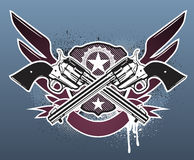 Sheriff  insignia. Vector illustration of Two cowboy revolver guns with a sheriff star and shield on the grunge Background Stock Photos